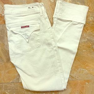 HUDSON Straight Cropped White Jeans